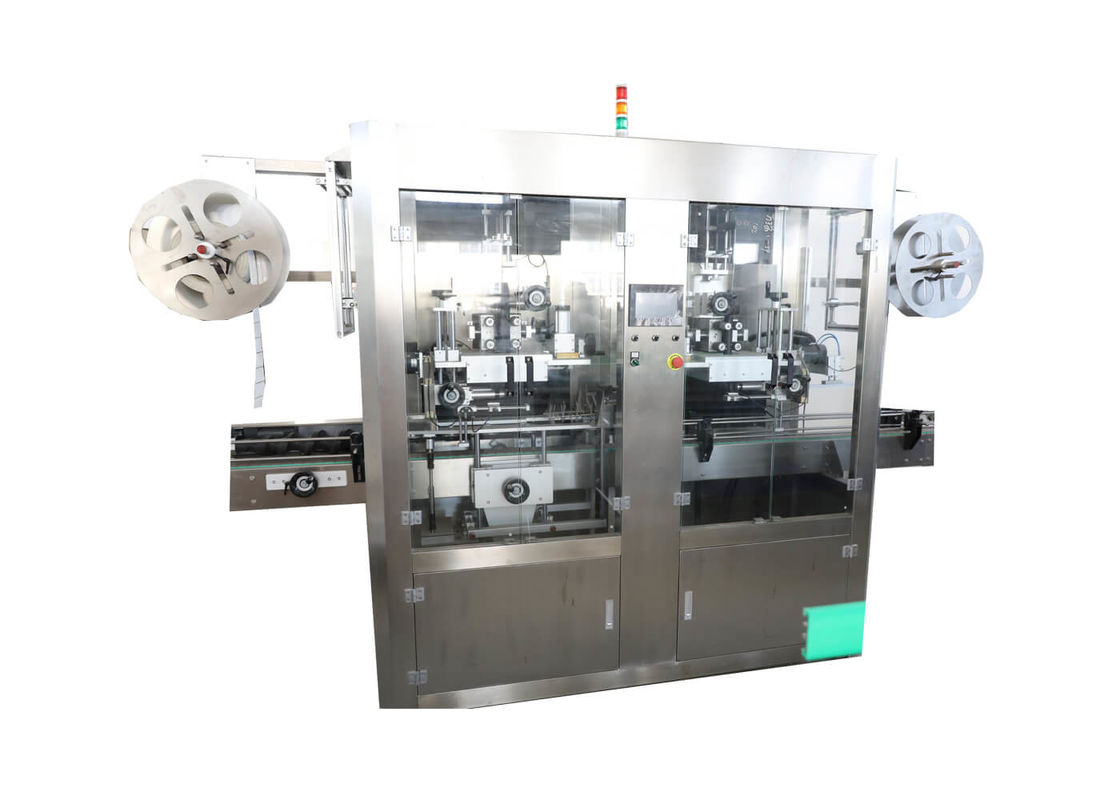 Double Head Plastic Bottle Labeling Machine , Shrinking Packing Machine