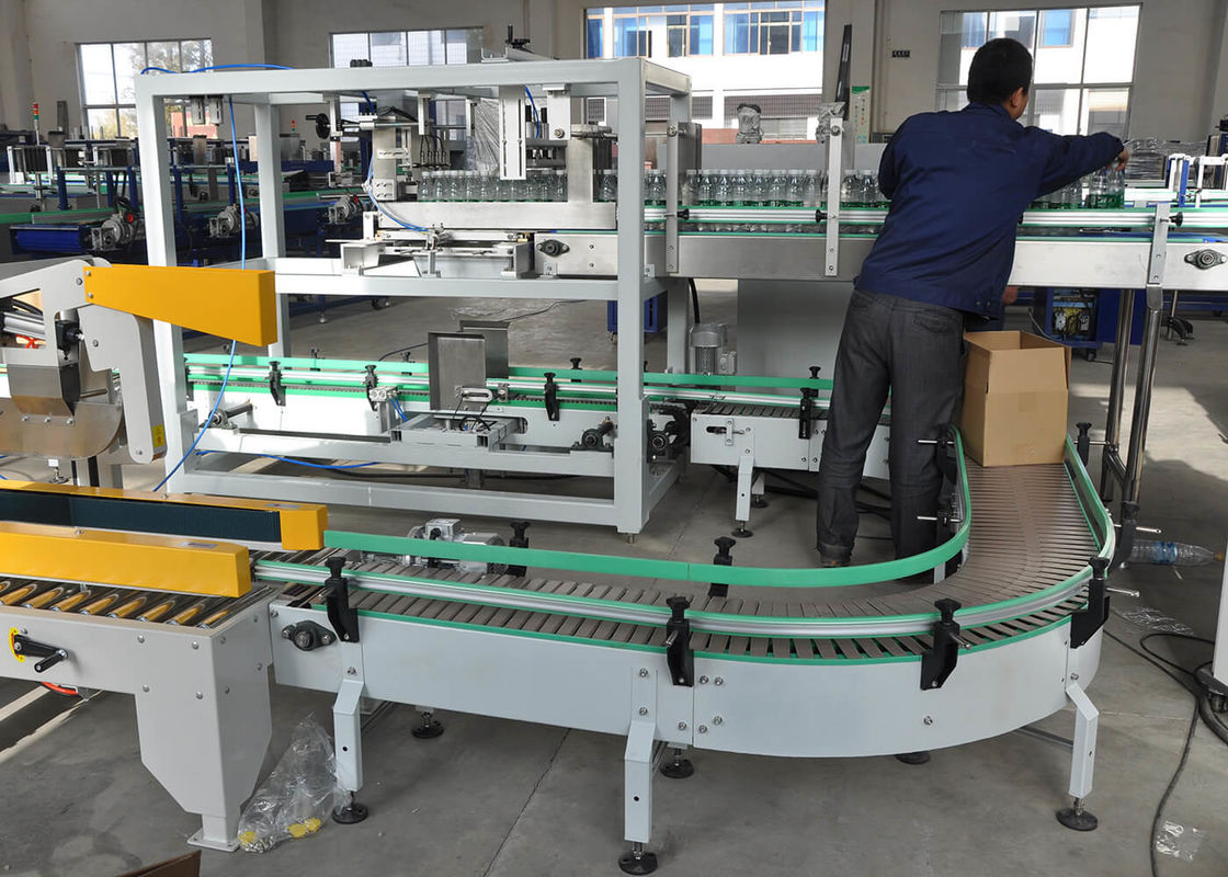 Automatic Carton Sealer Erector Case Packing Machine For Water / Juice / Wine Bottles