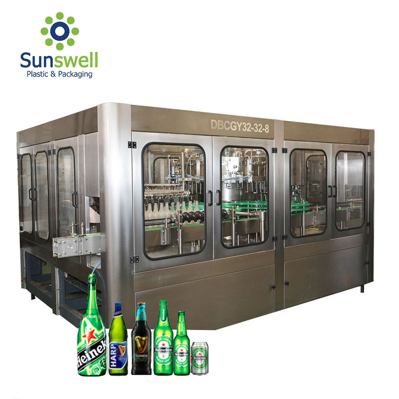 Automatic Beer Filling Machine , Filling And Capping Machine For Glass / Plastic Bottle